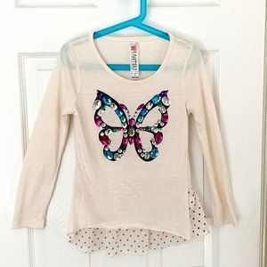 Girls Beautees top with jewel butterfly. Size S
